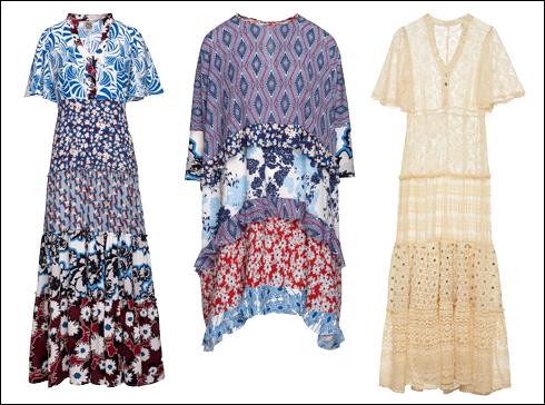 שמלת מקסי מתחרה, 3,200 שקל; שמלת קומות קצרה בצללית אוברסייז, 1,390 שקל; שמלת מקסי מודפסת, 2,600 שקל (צילום: גלעד שלו)