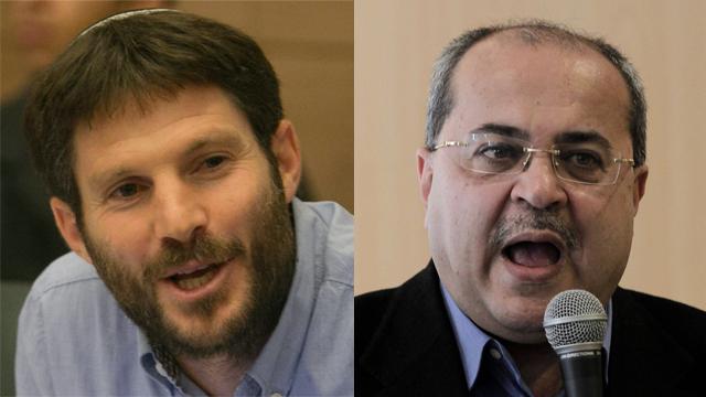 אחמד טיבי (מימין) ובצלאל סמוטריץ' (צילום: אוהד צויגנברג, AFP) (צילום: אוהד צויגנברג, AFP)