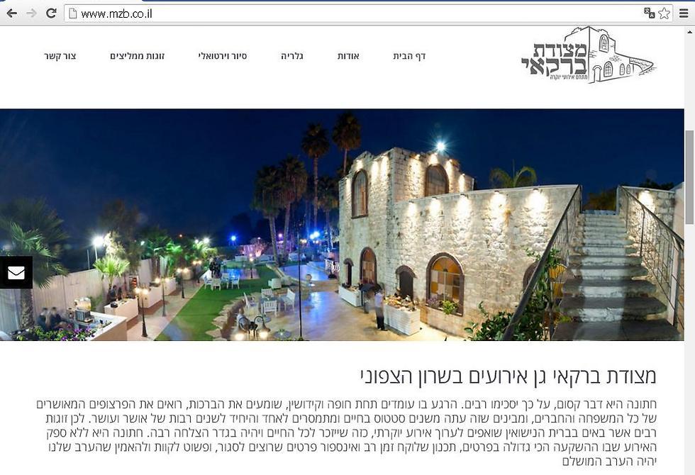 מה פגע בעסקיהם: הביקורת או התביעה? מצודת ברקאי (צילום מסך מאתר האינטרנט של גן האירועים) ()
