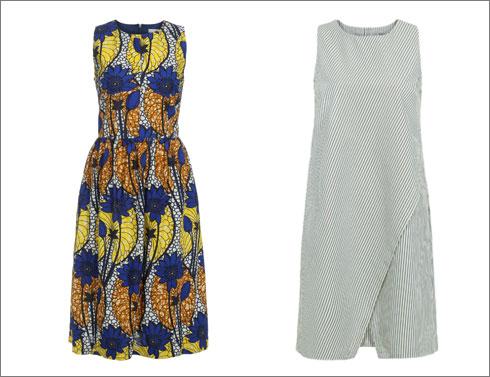 שמלת דרדר בדוגמת פסים, 688 שקל; שמלת קימל באורך מידי, 884 שקל (צילום: ניר יפה)