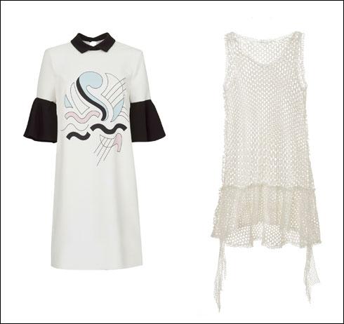 שמלה מתחרת קרושה לבנה באורך מיני, 599 שקל; שמלה עם הדפס שיצר אלון ליבנה, 599 שקל (צילום: עדי גלעד)