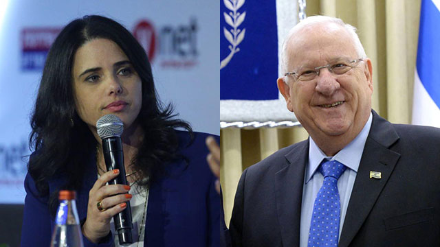 Justice Minister Ayelet Shaked (L) and President Reuven Rivlin (Photo: Motti Kimchi, Mark Neiman/PMO)