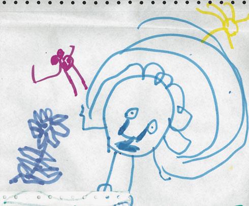 ציור ברמה נמוכה מגיל 5 וחצי, בעקבות מצב נפשי קשה
