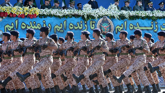 The Iranian Revolutionary Guards, who are reportedly recruiting and training Syrian citizens (Photo: AP)
