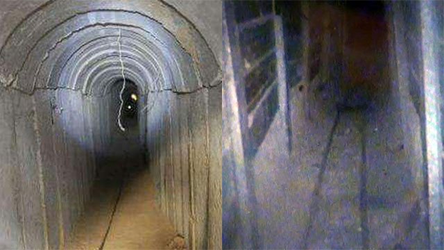 New-style Hamas tunnel, right, old-style Hamas tunnel, left (Photo: IDF spokesperson)