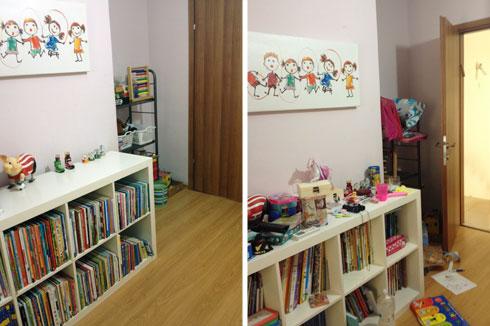 לפני ואחרי. סידור ספרים מהגדול לקטן חוסך מקום על המדף וגם נראה אסתטי (צילום: רוית כהן)