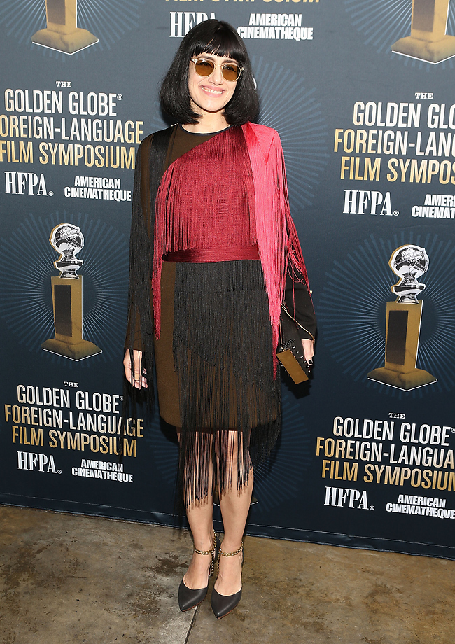 אלקבץ בשמלה נוספת של בית האופנה לאנווין, באירועי גלובוס הזהב לסרטים זרים 2015 (צילום: getty images)