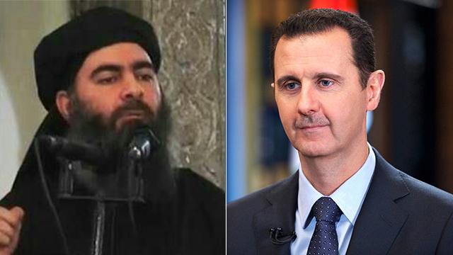דאעש הכריז על חליפות איסלאמית בגבול סוריה-עיראק, הנשיא הסורי איבד חלקים גדולים מארצו. אסד (מימין) ומנהיג דאעש אל-בגדדי (צילום: AP) (צילום: AP)