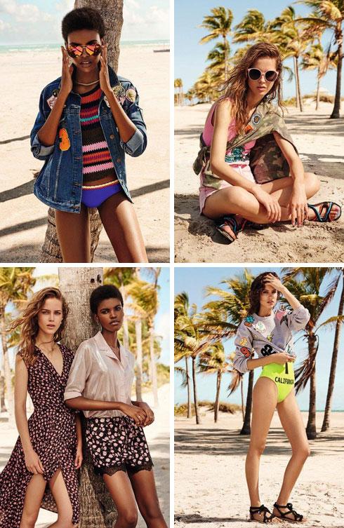 טופשופ. קולקציית קיץ המורכבת מארבעה טרנדים מרכזיים: המראה הספורטיבי, פריטי ג'ינס בהירים, הלוק הבוהמייני והטרנד הרומנטי