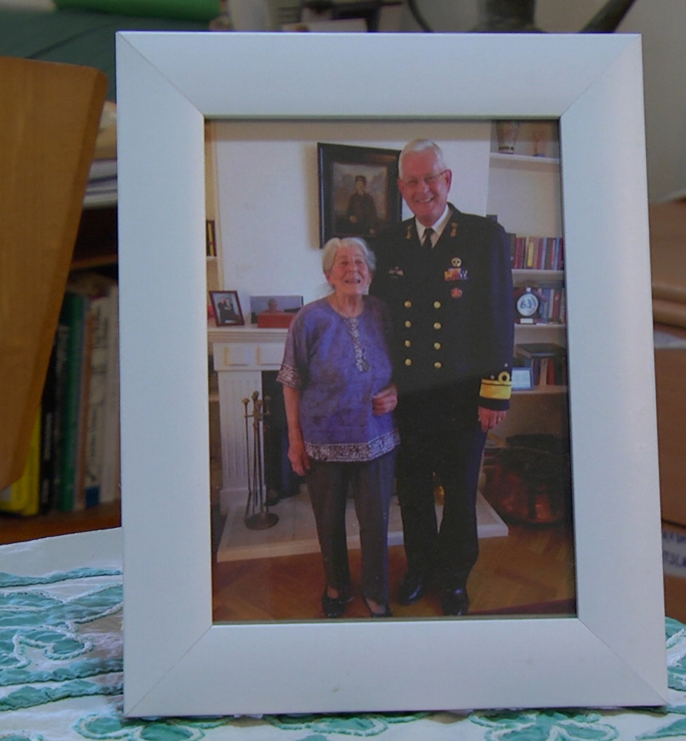 Betty Bausch with the commander of the Dutch Navy