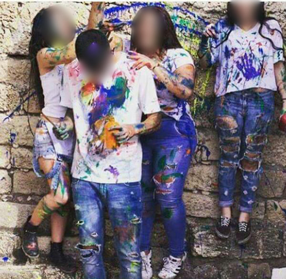 """Pictures that the youths shared of their """"color party"""""""