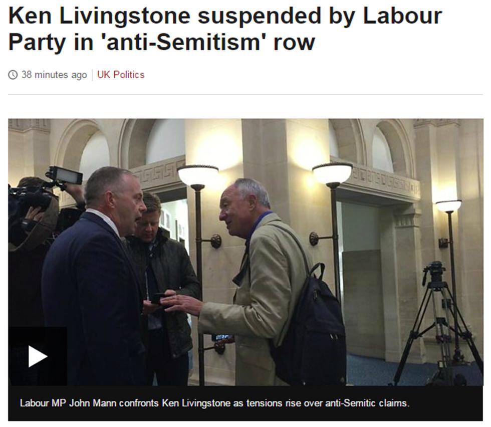 הכותרת על התבטאות ליווינגסטון ב-BBC ()
