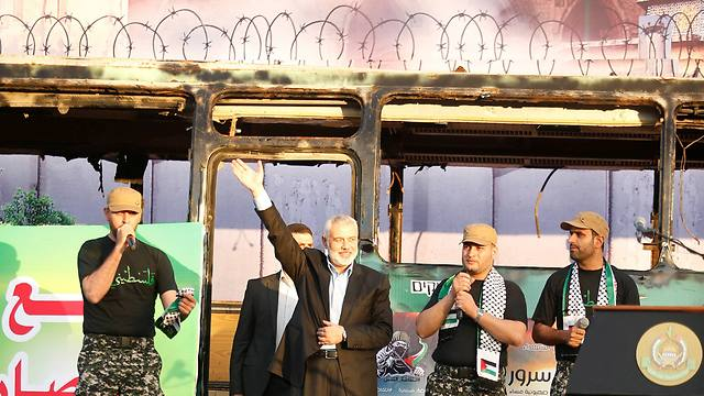 Ismail Haniyeh on the podium (Photo: Reuters) (Photo: Reuters)