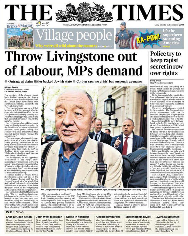 """""""Члены палаты общин требуют исключить Ливингстона из партии"""". The Times, 2016 год"""