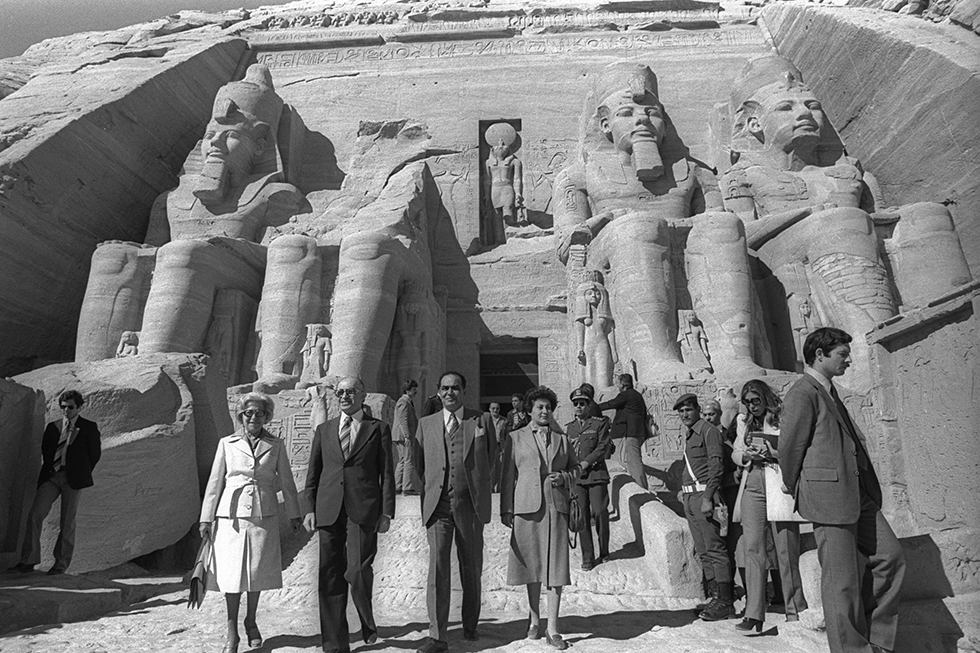Menachem Begin and his wife visit Abu Simbel in Egypt, 1980 (Photo: Government Press Office)