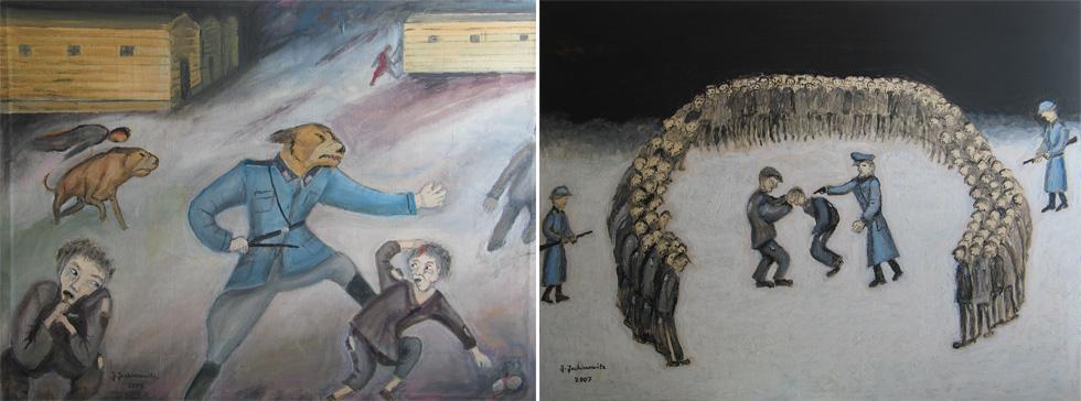 """שני ציורים של יחימוביץ'. """"כשיצאתי לפנסיה, התחלתי לצייר באופן קבוע והחלטתי שאתמסר לנושא השואה והעיירה"""" (מתוך אלבום פרטי באדיבות משפחת יחימוביץ)"""