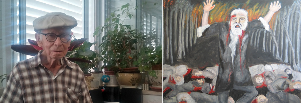 """יעקב יחימוביץ' (משמאל) ואחד מציוריו. """"כל אלה שהלכו, הלכה איתם גם ההיסטוריה האישית שלהם"""" (מתוך אלבום פרטי באדיבות משפחת יחימוביץ)"""