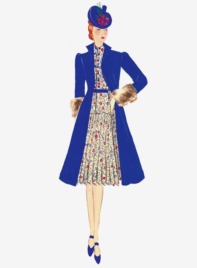 עיצוב לאחת משמונה השמלות ששלחה הדי סטרנד במכתב מפראג לארצות הברית (באדיבות המוזיאון למורשת יהודית, צילום: Melanie Einzig)