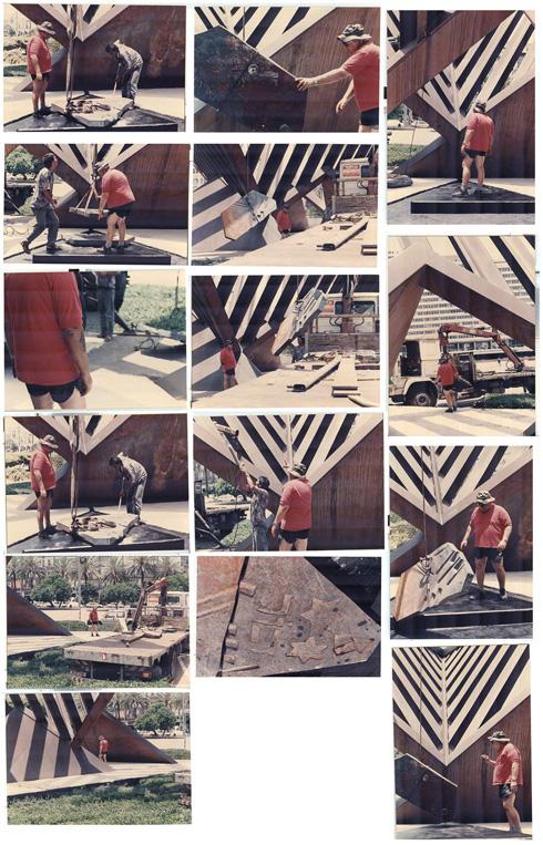 תומרקין בזמן השיפוצים של האנדרטה, כחלק משיפוץ הכיכר והמזרקה ב-2010 (צילום: יכין הירש, אוסף יכין הירש, ארכיון אדריכלות ישראל)