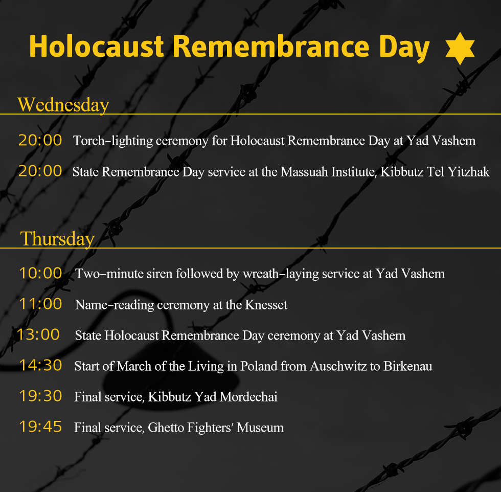 Schedule of events for Holocaust Remembrance Day