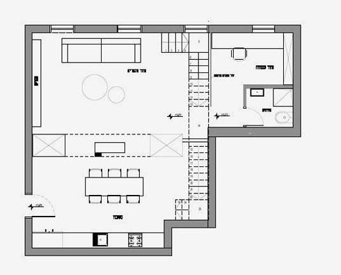 תוכנית קומת הכניסה. 70 מ''ר שבהם מטבח, פינת ישיבה, פינת עבודה ושירותי אורחים (שרטוטים: אדריכל אמיר נבון סטודיו 6B)