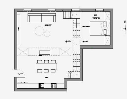 גלריה שנבנתה מעל פינת העבודה ושירותי האורחים הוקדשה לארון ומיטה (שרטוטים: אדריכל אמיר נבון סטודיו 6B)