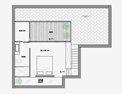 חדר שינה, רחצה, שירות ומרפסת פתוחה נבנו מעל המטבח והסלון (שרטוטים: אדריכל אמיר נבון סטודיו 6B)