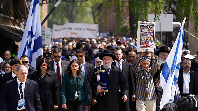 March of the living, led by Minister Ayelet Shaked and Tel Aviv Chief Rabbi Yisrael Meir Lau, a Holocaust survivor himself (Photo: Reuters)