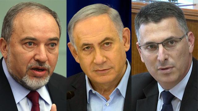 Lieberman, Netanyahu, Sa'ar (Photos: Gil yohanan, AP, Eli Mendelbaum)
