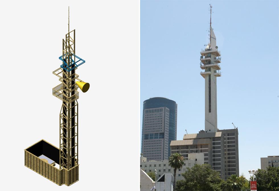 שתי גדות לשדרות שאול המלך: מגדל ''המרגנית'' ו''מסגד הביטחון'', כחמישית מגובהו, של קבוצת ''זיק'' במוזיאון ת''א (צילום: קבוצת זיק, צביקה טישלר)