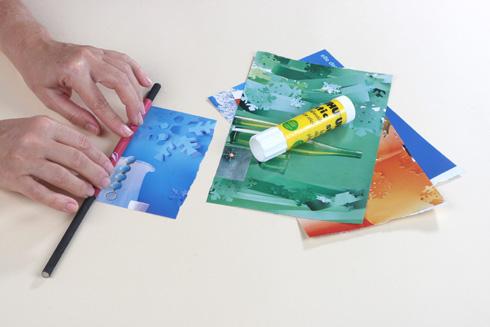 מניחים את העיפרון בקצה הנייר ומגלגלים (צילום: אירית זילברמן)