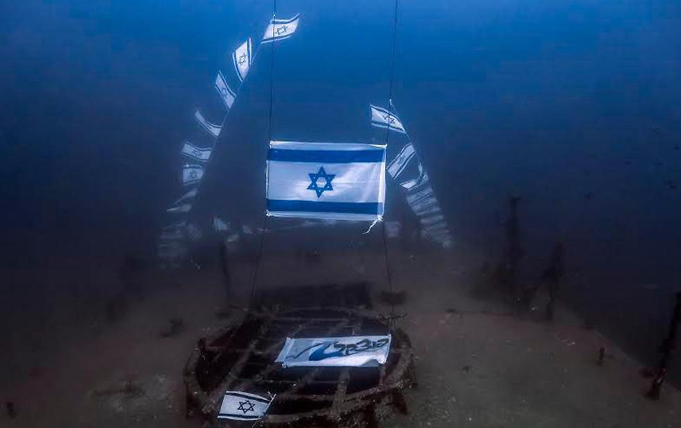 Underwater memorial for 12 Israeli naval commandos killed in 1997 (Photo: Shevi Rotman)