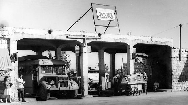 1960 - תחנת אגד בעיר העתיקה בנצרת (ארכיון אגד) (ארכיון אגד)