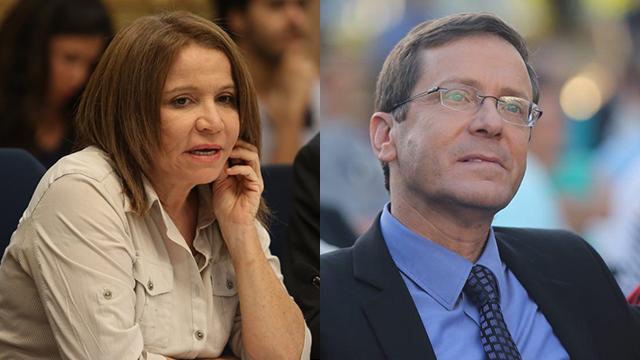 Opposition leader Isaac Herzog (R) and MK Shelly Yachimovich (Photo: Motti Kimchi, Gil Yohanan)