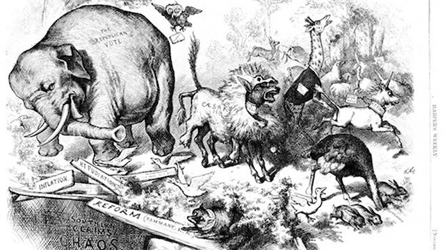 """קריקטורה נוספת של נסט מ-1874: הפיל מייצג את """"הקול הרפובליקני"""" ()"""