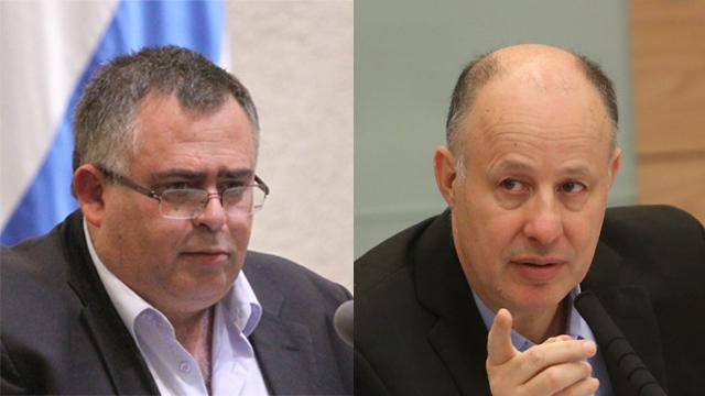 David Bitan and Tzachi Hanegbi (Photos: Alex Kolomoisky, Knesset spokesman)