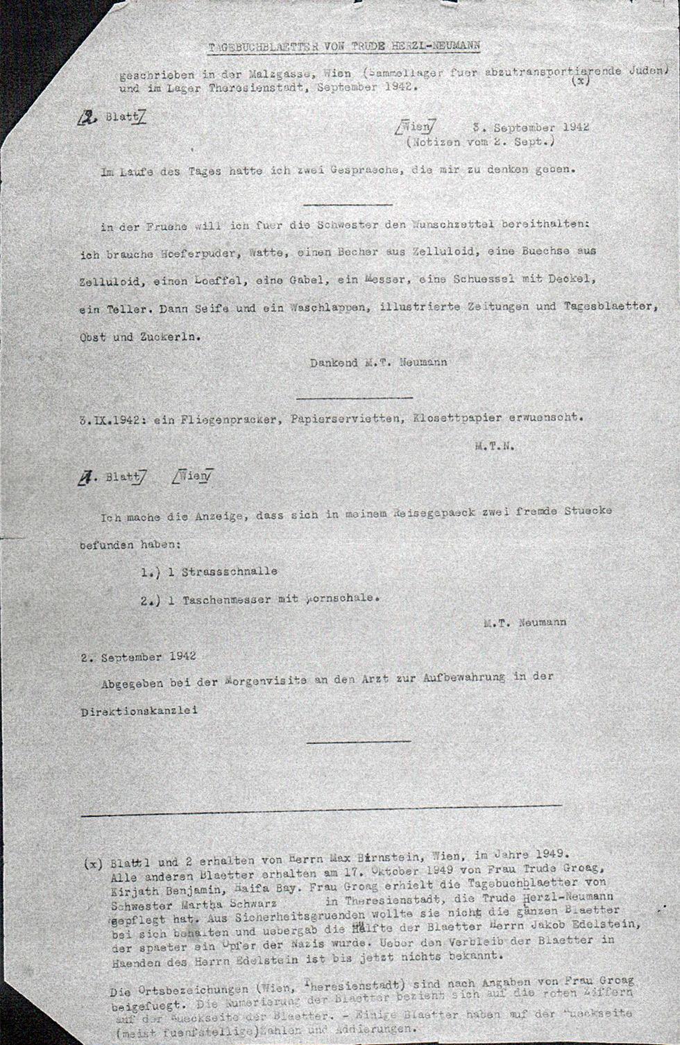 מתוך היומנים שנמצאו לאחרונה. טרודה כתבה בכתב יד, ולאחר המלחמה הוקלדו חלקים מהיומן ()