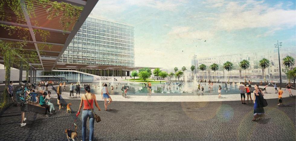 ההצעה של מייזליץ-כסיף: בריכת מים ענקית במרכז הכיכר, תוך התערבות מהותית במלבן הקיים (הדמיה: מייזליץ כסיף)