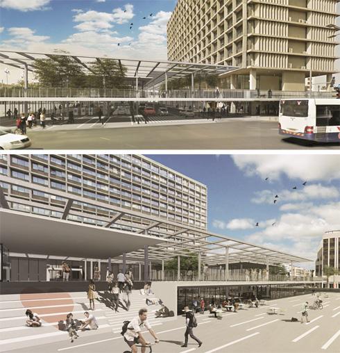 מפלסים חדשים בכיכר רבין, המרפסת תקורה בגריד הריבועי של חזית העירייה (הדמיה: משרד ת.מ.א)
