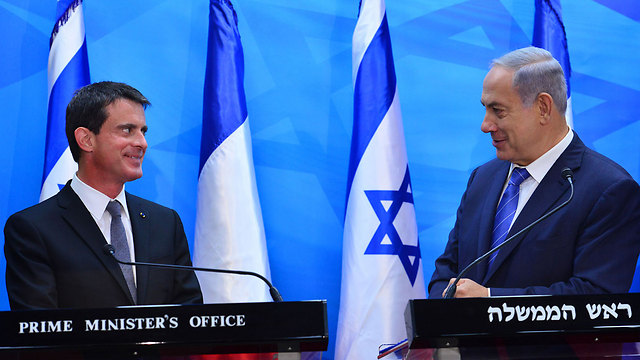 French Prime Minister Manuel Valls and Israeli cunterpart Benjamin Netanyahu (Photo: Koby Gideon, GPO)