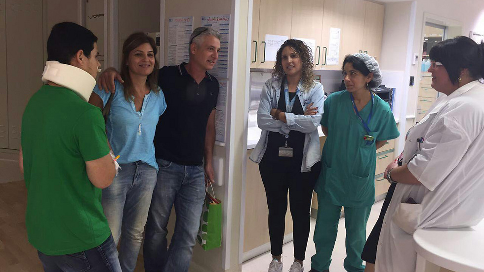At his release from the hospital (Photo: Hadassah Medical Center)
