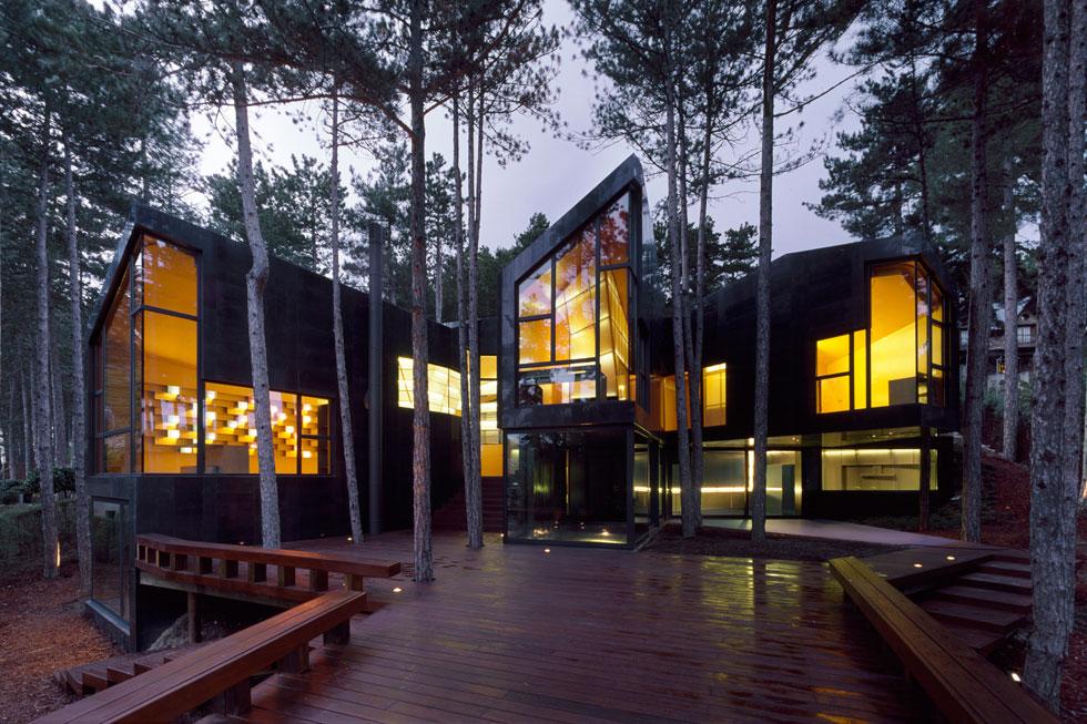 הגיאומטריה המשונה של וילת  Levene, בתכנון ארויו, היא תוצר של היער שבו נבנתה מבלי לכרות אף עץ. יחד עם הגגות המשופעים והטופוגרפיה התלולה, נוצר נפח דמוי אצבעות שכל אחת מהן מוקדשת לשימוש אחר, תוך שהיער נוכח בתוך הבית. הבניין מחופה בחומר כהה, וטרסת עץ מרחפת מעל שיפולי הקרקע (צילום: Roland Halbe)