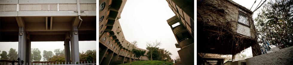 מגרש הניסויים של באר שבע (מימין: השיכון לדוגמה בתכנון נחום זולוטוב, מעונות הסטודנטים בתכנון רם כרמי, בניין רבע הקילומטר בתכנון אברהם יסקי). ''זה לא במקרה שבאר שבע קיימת'', אומר ארויו, ומסביר למה זה לא יכול לקרות שנית (צילום: רועי אבנטוב)