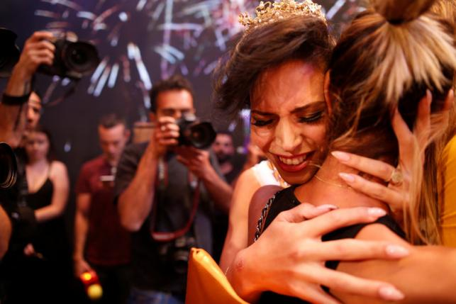 Winner of Israel's first transgender beauty pagaent, Taleen Abu Hanna (Photo: Reuters)