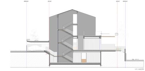 """חתך שמראה את 4 קומות הבית (שרטוטים: ARstudio  ארנון ניר אדריכלות בע""""מ)"""