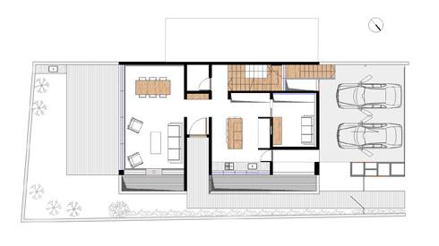 """תוכנית קומת הכניסה (שרטוטים: ARstudio  ארנון ניר אדריכלות בע""""מ)"""