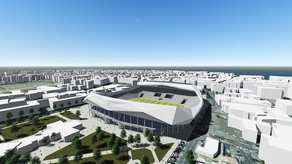כך ייראה אצטדיון בלומפילד במתכונתו החדשה (הדמיה: מנספלד קהת אדריכלים)