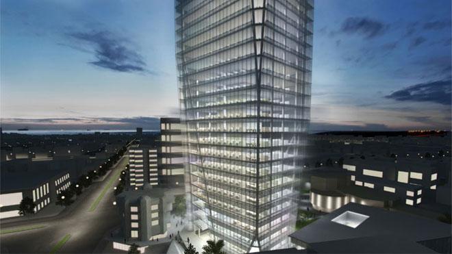 ההצעה הזוכה לתכנון בית העירייה של נתניה. ''עשו תחרות ועכשיו רוצים לחסוך את עלות התכנון'', אומר איתן קימל, אחד הזוכים (הדמיה: קלוש צ'ציק אדריכלים בשיתוף קימל אשכולות אדריכלים, K.P.Studio)