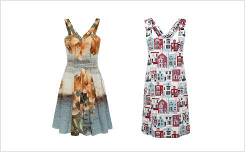 אוברול עם הדפס של בתים, 468 שקל; שמלת קוקטייל צבעונית, 890 שקל (צילום: ולרי בלקינג)