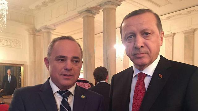 Minister of Energy Yuval Steinitz and Turkish President Erdogan